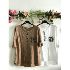 Long Sleeve Pormenor Animal Print (Camel)