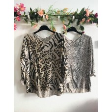 Long Sleeve Algodão Animal Print